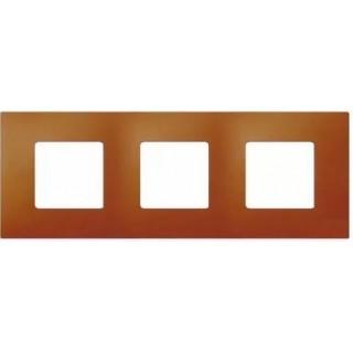 Декоративная накладка на рамку-базу, 3 места, S27Pl, артик апельсин