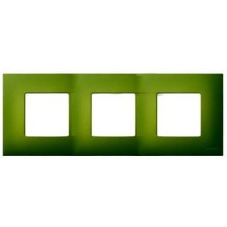 Декоративная накладка на рамку-базу, 3 места, S27Pl, артик зеленый