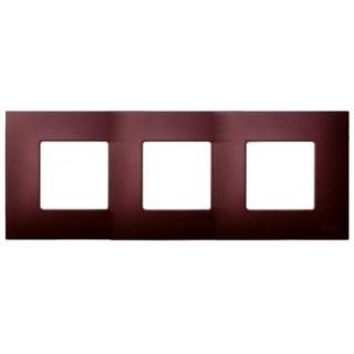 Декоративная накладка на рамку-базу, 3 места, S27Pl, артик баклажан