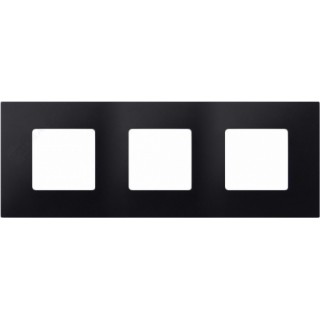 Декоративная накладка на рамку-базу, 3 места, S27Pl, артик чёрный