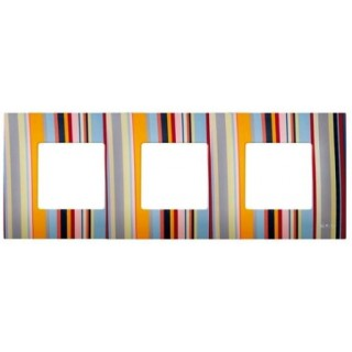 Декоративная накладка на рамку-базу, 3 места, S27Pl, многоцветный поток
