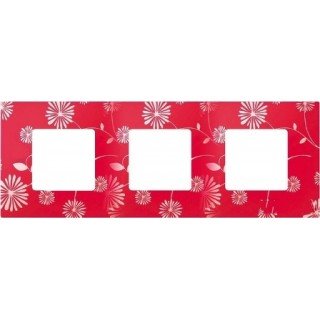 Декоративная накладка на рамку-базу, 3 места, S27Pl, красно-белый