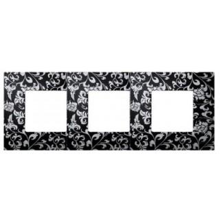 Декоративная накладка на рамку-базу, 3 места, S27Pl, чёрный ретро