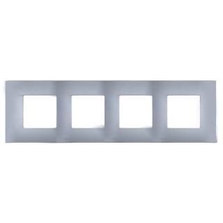Декоративная накладка на рамку-базу, 4 места, S27Pl, нержавеющая сталь