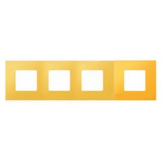 Декоративная накладка на рамку-базу, 4 места, S27Pl, жёлтый