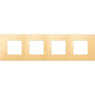 Декоративная накладка на рамку-базу, 4 места, S27Pl, кремовый