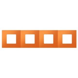 Декоративная накладка на рамку-базу, 4 места, S27Pl, апельсин