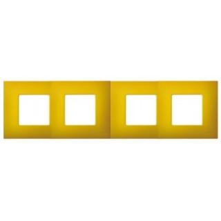 Декоративная накладка на рамку-базу, 4 места, S27Pl, артик жёлтый