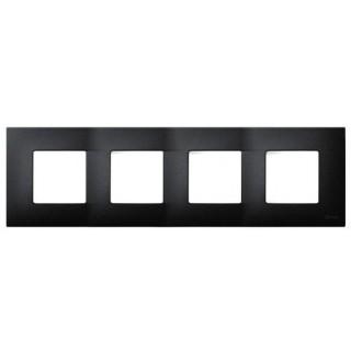 Декоративная накладка на рамку-базу, 4 места, S27Pl, артик чёрный