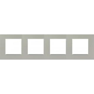 Декоративная накладка на рамку-базу, 4 места, S27Pl, серый прозрачный