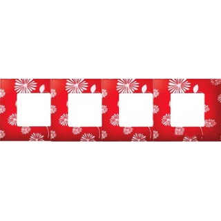 Декоративная накладка на рамку-базу, 4 места, S27Pl, красно-белый