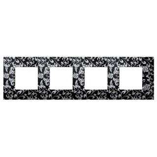 Декоративная накладка на рамку-базу, 4 места, S27Pl, чёрный ретро