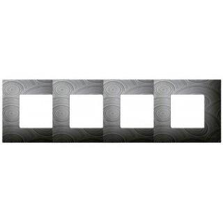 Декоративная накладка на рамку-базу, 4 места, S27Pl, серое солнце