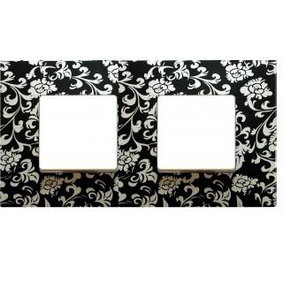 Декоративная накладка на рамку-базу, 2 места, S27Pl, чёрный ретро