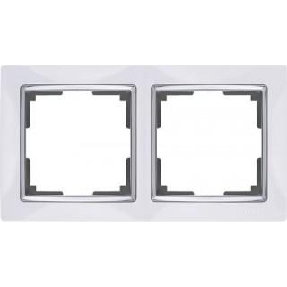 Рамка на 2 поста WL03-Frame-02-white белый