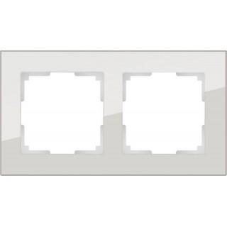 Рамка на 2 поста стекло WL01-Frame-02 дымчатый