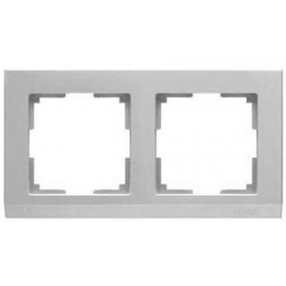 Рамка на 2 поста WL04-Frame-02 серебряный