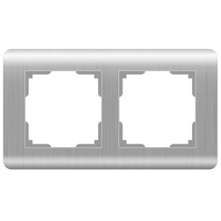 Рамка на 2 поста WL12-Frame-02 серебряный
