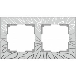 Рамка на 2 поста WL09-Frame-02 серебряный