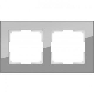Рамка на 2 поста стекло WL01-Frame-02 серый