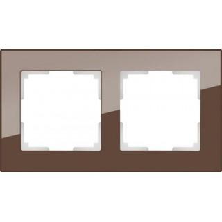 Рамка на 2 поста стекло WL01-Frame-02 мокко