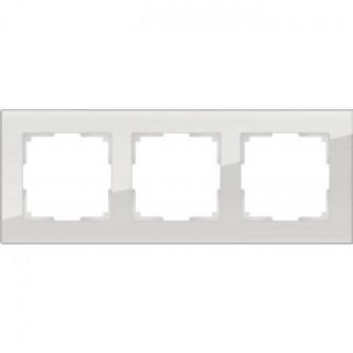 Рамка на 3 поста стекло WL01-Frame-03 дымчатый