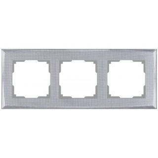Рамка на 3 поста WL10-Frame-03 серебряный