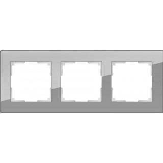 Рамка на 3 поста стекло WL01-Frame-03 серый