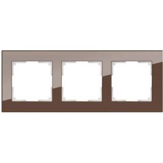 Рамка на 3 поста стекло WL01-Frame-03 мокко