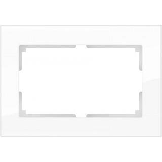 Рамка для двойной розетки WL01-Frame-01-DBL белый, стекло
