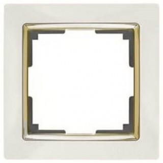 Рамка на 1 пост WL03-Frame-01-ivory-GD слоновая кость/золото