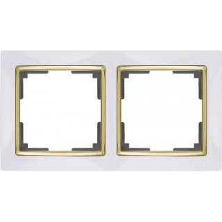 Рамка на 2 поста WL03-Frame-02-white-GD белый/золото