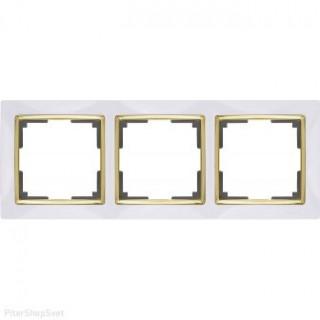Рамка на 3 поста WL03-Frame-03-white-GD белый/золото