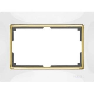 Рамка для двойной розетки WL03-Frame-01-DBL-white-GD белый/золото