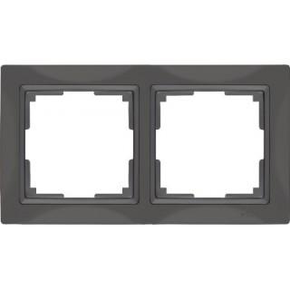 Рамка на 2 поста WL03-Frame-02 серо-коричневый, basic