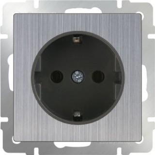 Розетка с заземлением WL02-SKG-01-IP20 глянцевый никель