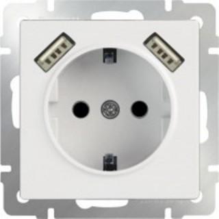 Розетка с заземлением и шторками USBх2 WL01-SKGS-USBx2-IP20 белый