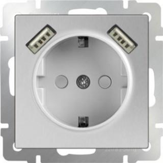 Розетка с заземлением и шторками USBх2 WL06-SKGS-USBx2-IP20 серебряный