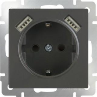 Розетка с заземлением и шторками USBх2 WL07-SKGS-USBx2-IP20 серо-коричневый
