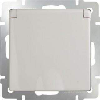 Розетка влагозащищенная с заземлением, с защитной крышкой и шторками WL03-SKGSC-01-IP44-ivory слоновая кость