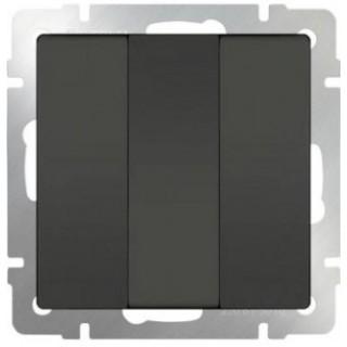 Выключатель трехклавишный WL07-SW-3G серо-коричневый