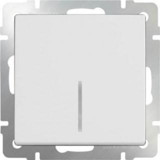 Выключатель одноклавишный проходной с подсветкой WL01-SW-1G-2W-LED белый