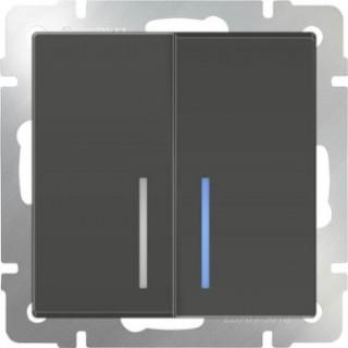 Выключатель двухклавишный проходной с подсветкой WL07-SW-2G-2W-LED серо-коричневый