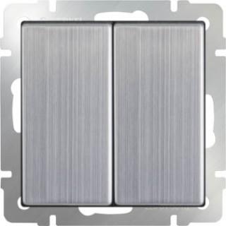 Выключатель двухклавишный проходной WL02-SW-2G-2W глянцевый никель