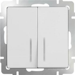 Выключатель двухклавишный проходной с подсветкой WL01-SW-2G-2W-LED белый