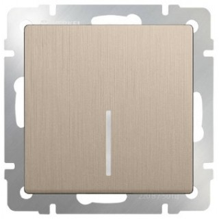 Выключатель одноклавишный с подсветкой WL10-SW-1G-2W-LED шампань рифленый