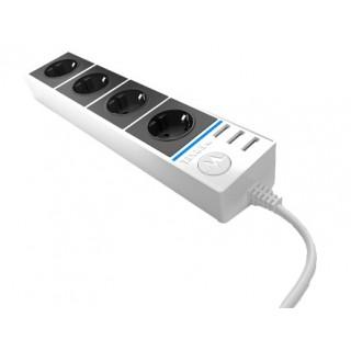 Розеточный блок 4-х местный + 3 USB белый/черный / WL20-04-03