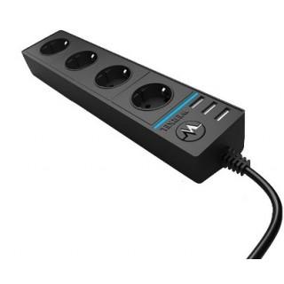 Розеточный блок 4-х местный + 3 USB черный / WL20-04-03
