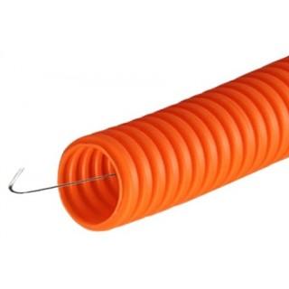 Труба гофрированная ПНД гибкая с протяжкой d16 мм оранжевая